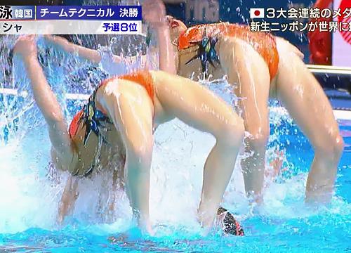 世界水泳、完全にやりすぎな超ハイレグでハミマン放送事故wwwwwwww