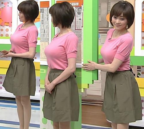 【着衣巨乳】女子アナウンサーのパッツンパツンのお○ぱいエ□画像集。(48枚)