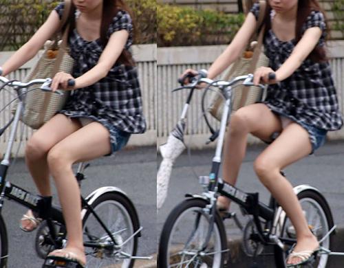 【自転車パ●チラ盗撮エ□画像】街中でこれを見れた瞬間はマジで感動するし、必死に目に焼き付けるわwww
