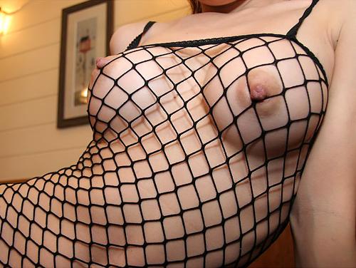 ボディストッキングの網目から見えるおっぱいがセクシーなお姉さんが誘惑
