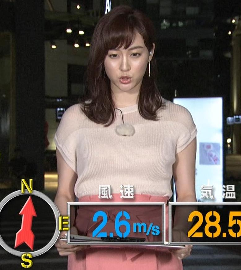新井恵理那 半袖ニットキャプ・エロ画像