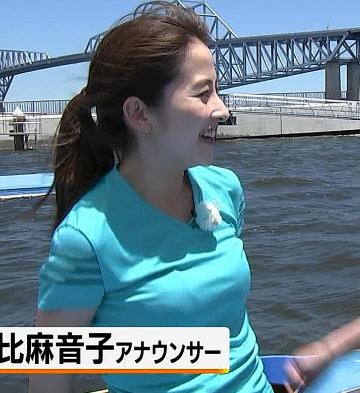 日比麻音子アナ Tシャツおっぱいキャプ・エロ画像