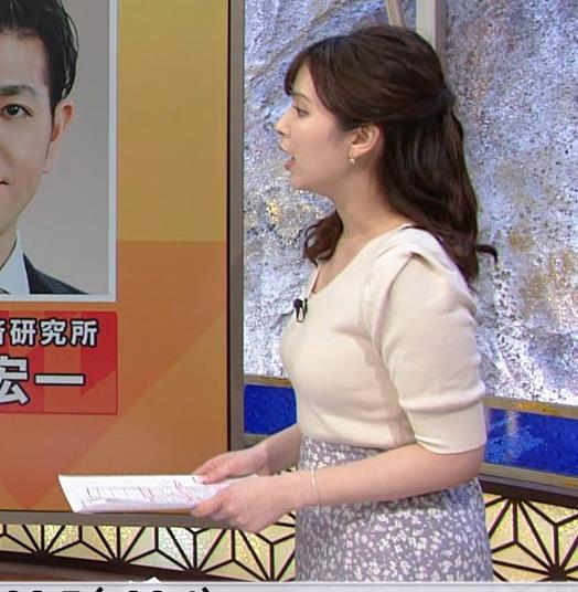 角谷暁子アナ 巨乳が際立つニットキャプ・エロ画像2