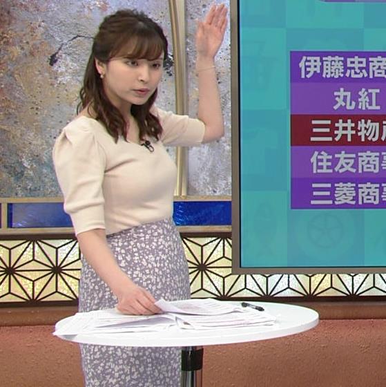 角谷暁子アナ 巨乳が際立つニットキャプ・エロ画像7