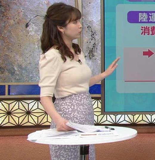 角谷暁子アナ 巨乳が際立つニットキャプ画像(エロ・アイコラ画像)