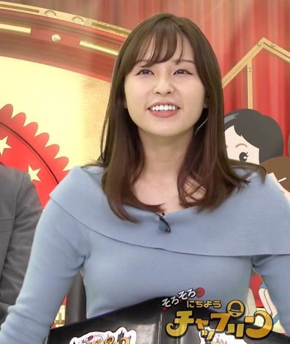 角谷暁子アナ パツパツ衣装がエロいキャプ・エロ画像2