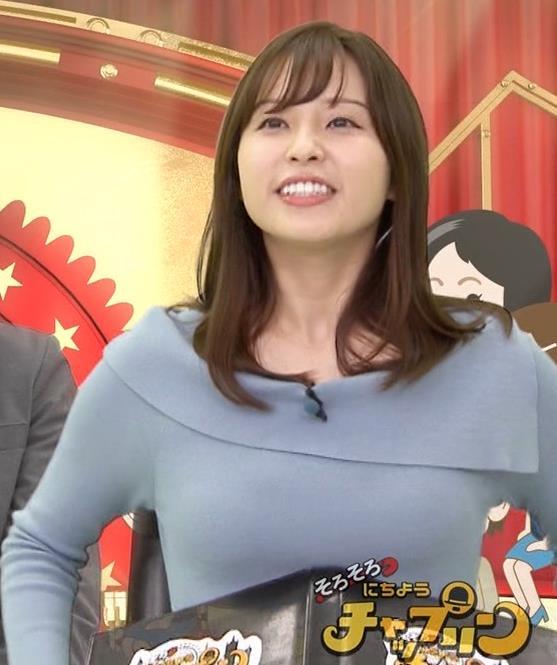 角谷暁子アナ パツパツ衣装がエロいキャプ・エロ画像3