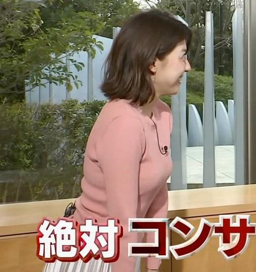 上村彩子アナ いい感じにエロいニットおっぱいキャプ・エロ画像3