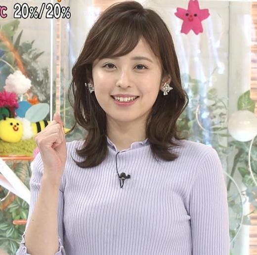 久慈暁子アナ ニットおっぱいキャプ画像(エロ・アイコラ画像)