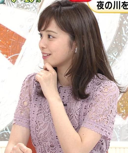 久慈暁子アナ 透け透けなレースのワンピースキャプ画像(エロ・アイコラ画像)