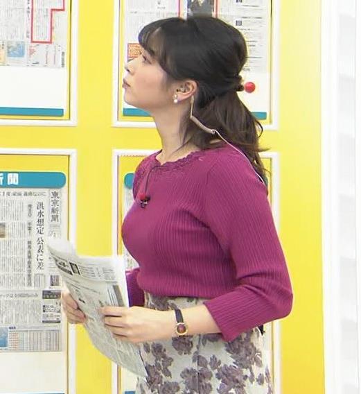 皆川玲奈アナ ニット巨乳キャプ・エロ画像