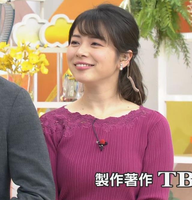 皆川玲奈アナ ニット巨乳キャプ・エロ画像10