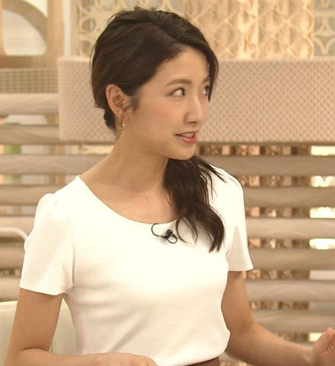 三田友梨佳アナ タイトめなTシャツでおっぱいエロキャプ・エロ画像2