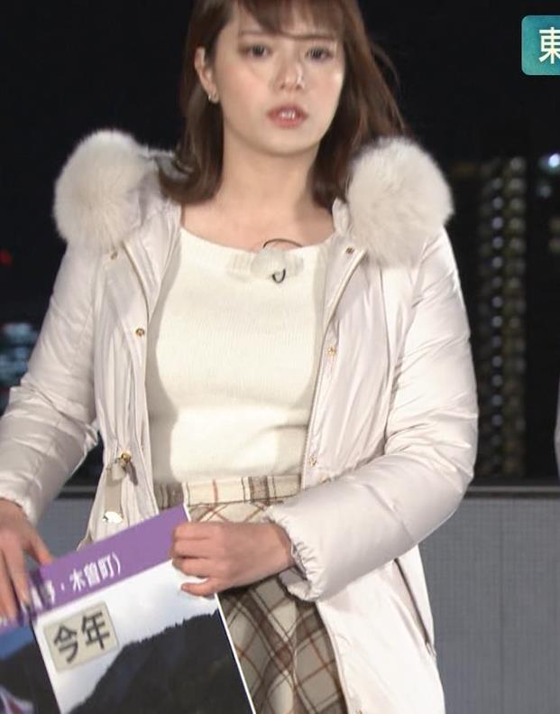 三谷紬アナ コートの下の爆乳キャプ・エロ画像3