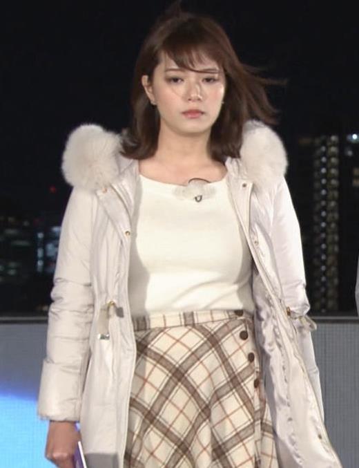 三谷紬アナ コートの下の爆乳キャプ画像(エロ・アイコラ画像)