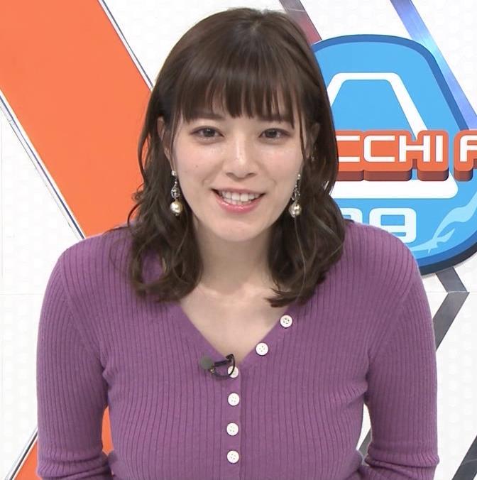 三谷紬アナ 爆乳横乳だけど、テロップが邪魔キャプ・エロ画像2