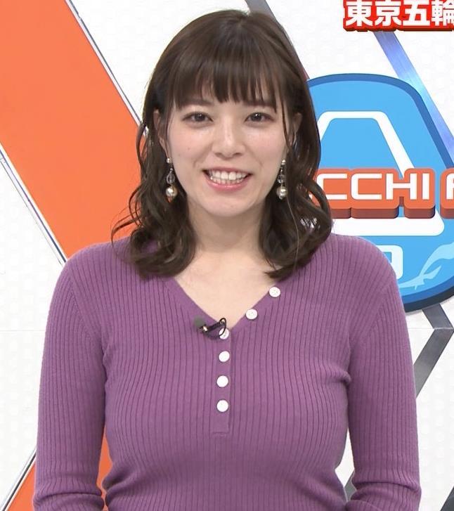 三谷紬アナ 爆乳横乳だけど、テロップが邪魔キャプ・エロ画像3