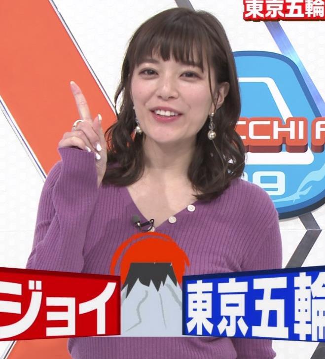 三谷紬アナ 爆乳横乳だけど、テロップが邪魔キャプ・エロ画像4