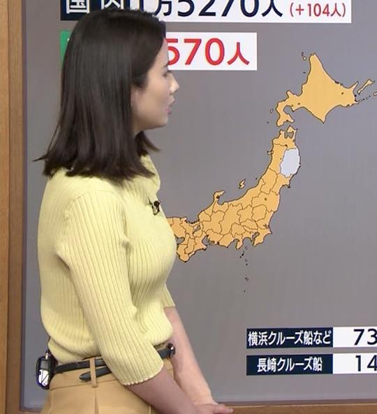森川夕貴アナ ニット巨乳を横からキャプ・エロ画像6