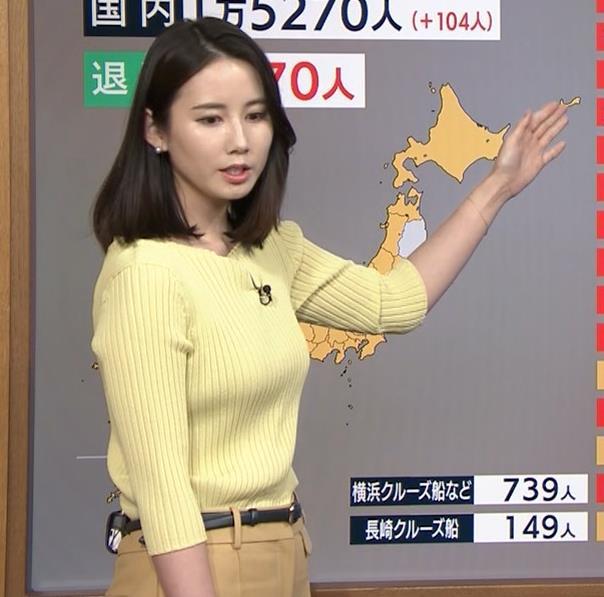 森川夕貴アナ ニット巨乳を横からキャプ・エロ画像7