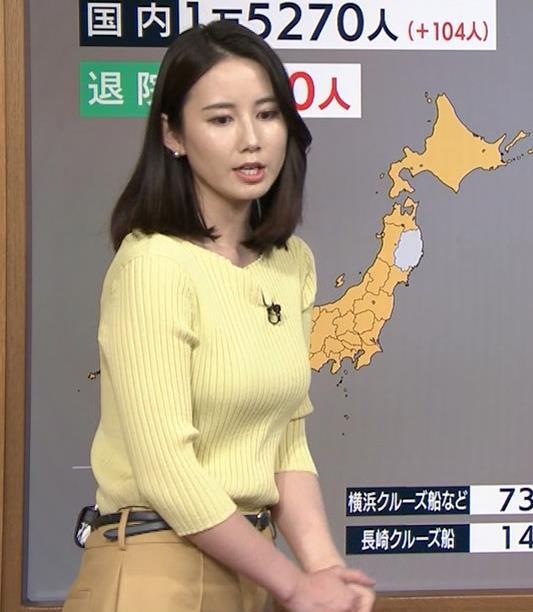 森川夕貴アナ ニット巨乳を横からキャプ・エロ画像8