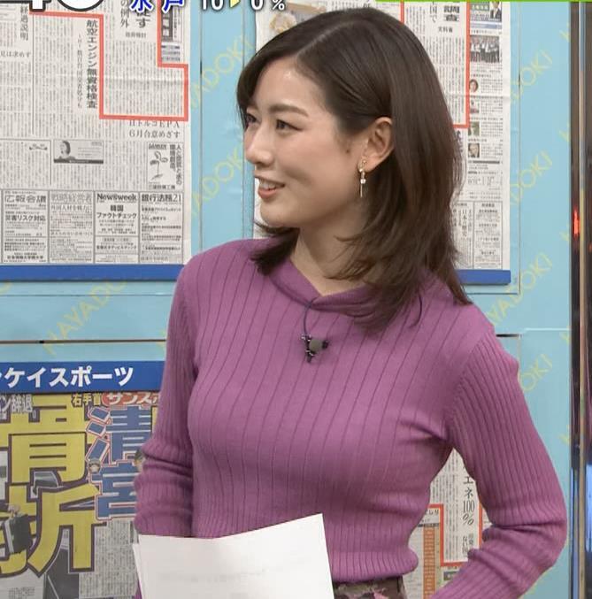 中西悠理アナ ニット横乳★キャプ・エロ画像5