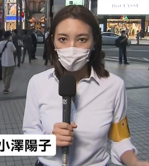 小澤陽子アナ ワイシャツおっぱいキャプ画像(エロ・アイコラ画像)