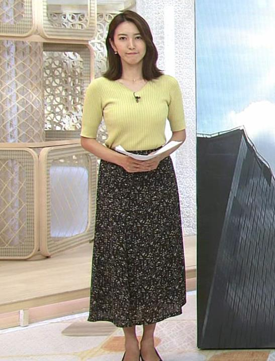 小澤陽子アナ 胸にしか目が行かないニュース番組キャプ・エロ画像