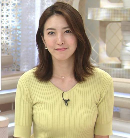 小澤陽子 胸にしか目が行かないニュース番組キャプ画像(エロ・アイコラ画像)
