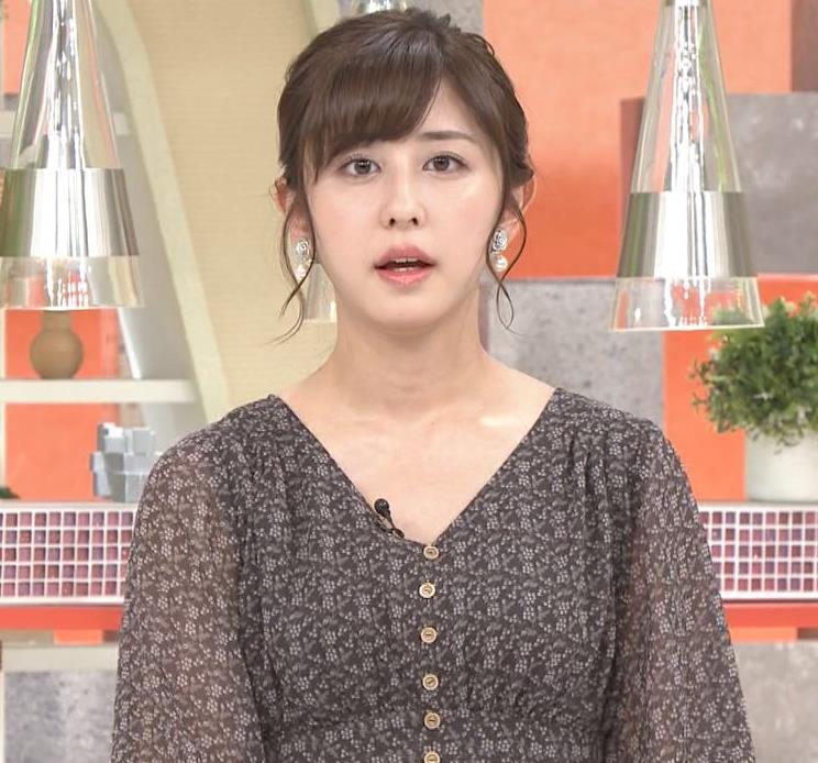 斎藤ちはるアナ Vネック、お辞儀で胸元チラキャプ・エロ画像2