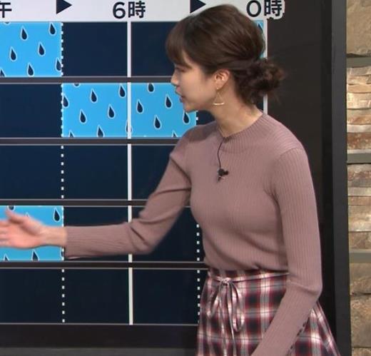 下村彩里アナ ニットおっぱいキャプ画像(エロ・アイコラ画像)