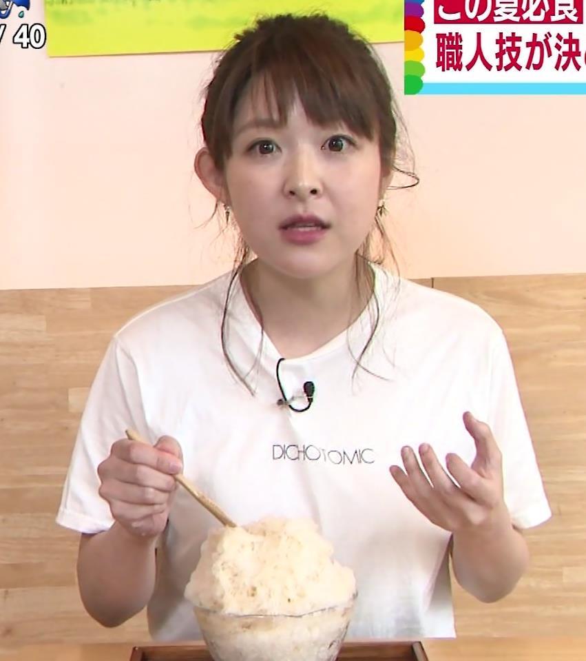 諸國沙代子アナ Tシャツ巨乳を押しつぶすエロキャプ・エロ画像5