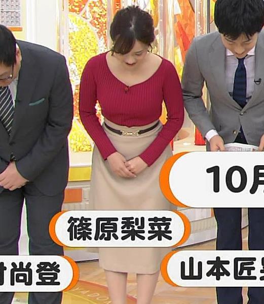 篠原梨菜アナ ニットおっぱいキャプ・エロ画像
