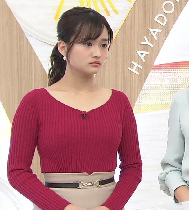 篠原梨菜アナ ニットおっぱいキャプ・エロ画像7