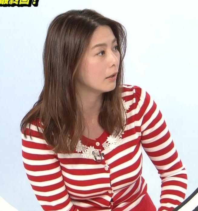 杉浦友紀アナ 巨乳が際立つボーダー柄キャプ・エロ画像2