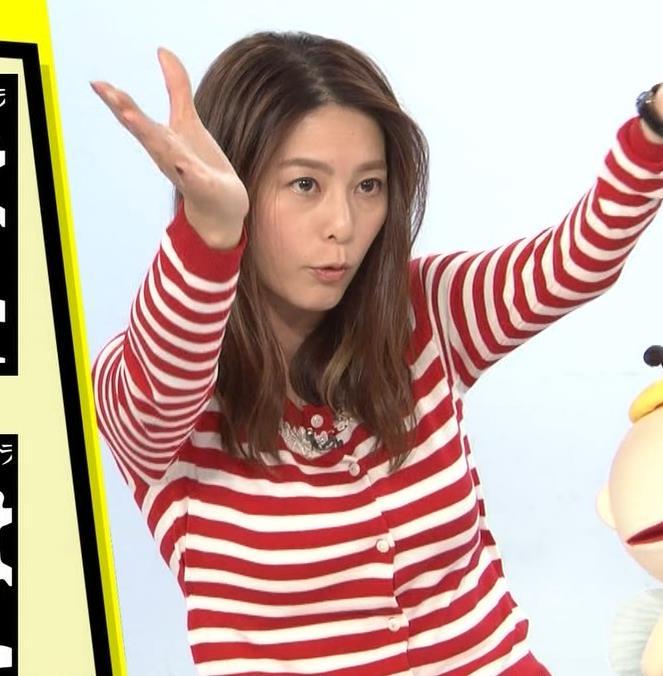 杉浦友紀アナ 巨乳が際立つボーダー柄キャプ・エロ画像5