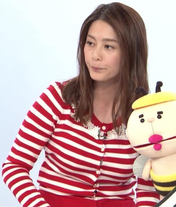 杉浦友紀アナ 巨乳が際立つボーダー柄キャプ・エロ画像6