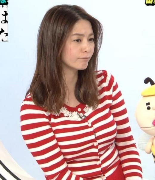 杉浦友紀アナ 巨乳が際立つボーダー柄キャプ画像(エロ・アイコラ画像)