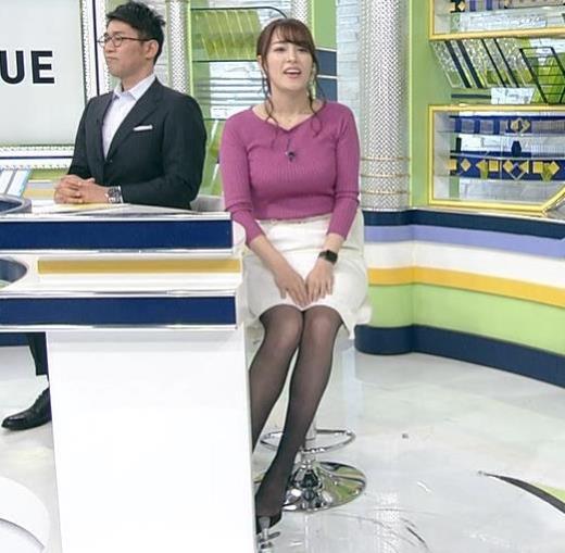 鷲見玲奈アナ 爆乳ニット&黒ストッキングキャプ画像(エロ・アイコラ画像)