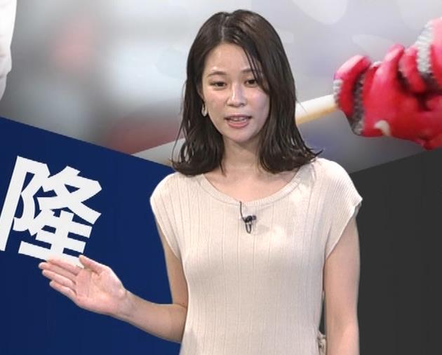 鈴木唯アナ 巨乳でエッチなノースリーブキャプ・エロ画像