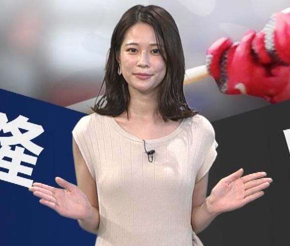 鈴木唯アナ 巨乳でエッチなノースリーブキャプ・エロ画像2