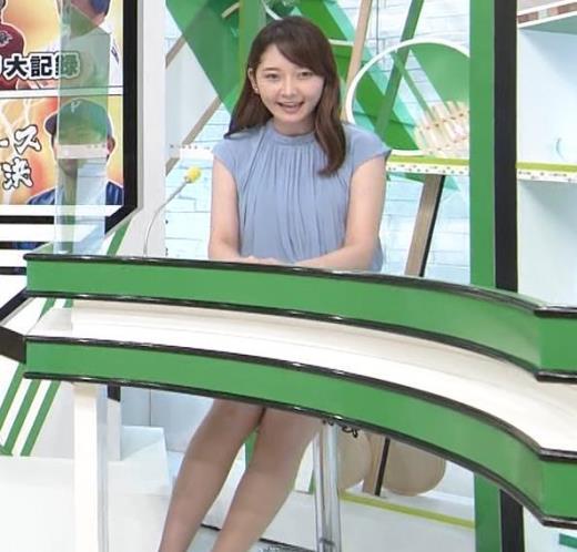 竹崎由佳アナ 机の下のミニスカートキャプ画像(エロ・アイコラ画像)