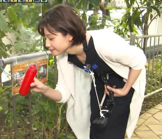 田中瞳アナ 前かがみ胸元チラキャプ画像(エロ・アイコラ画像)