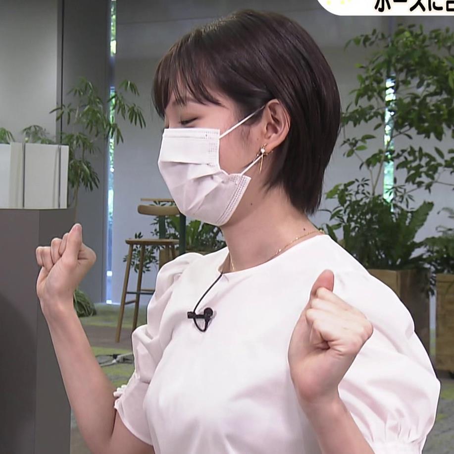 田中瞳アナ おっぱいパツパツのブラウスキャプ・エロ画像11