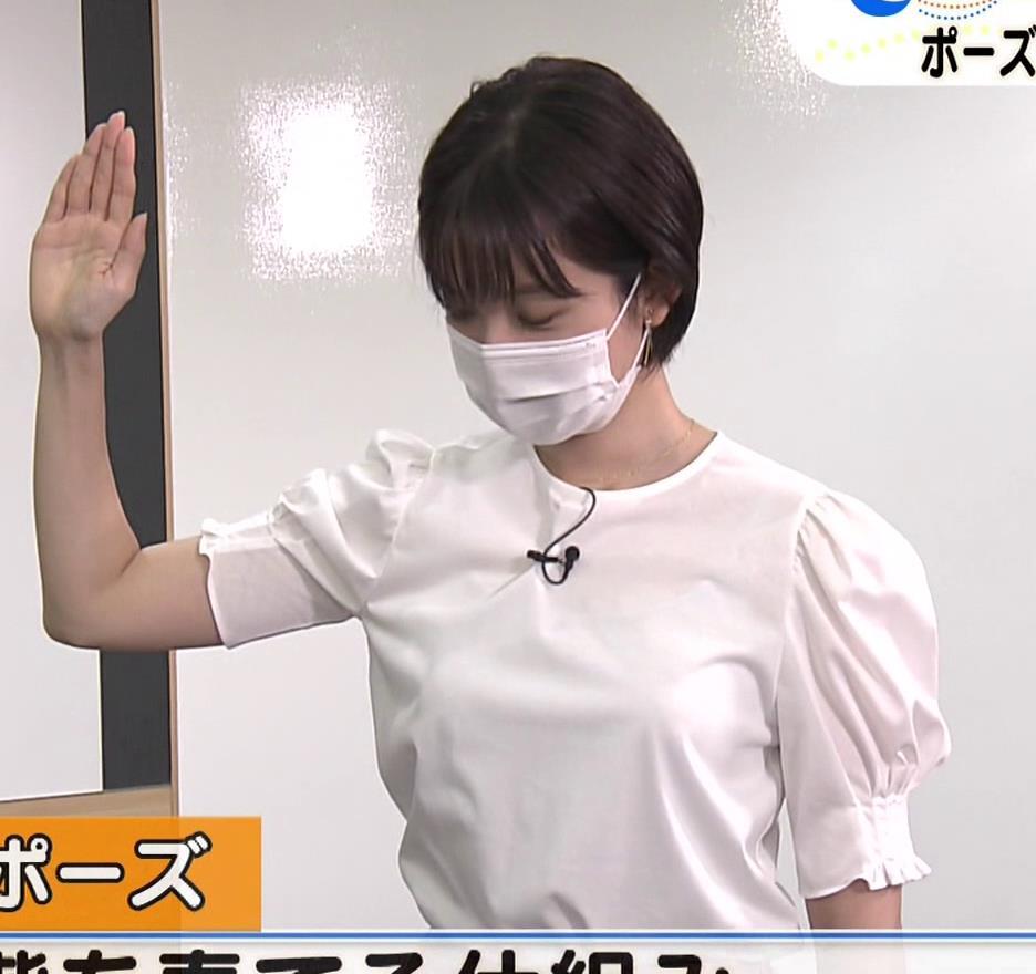 田中瞳アナ おっぱいパツパツのブラウスキャプ・エロ画像6