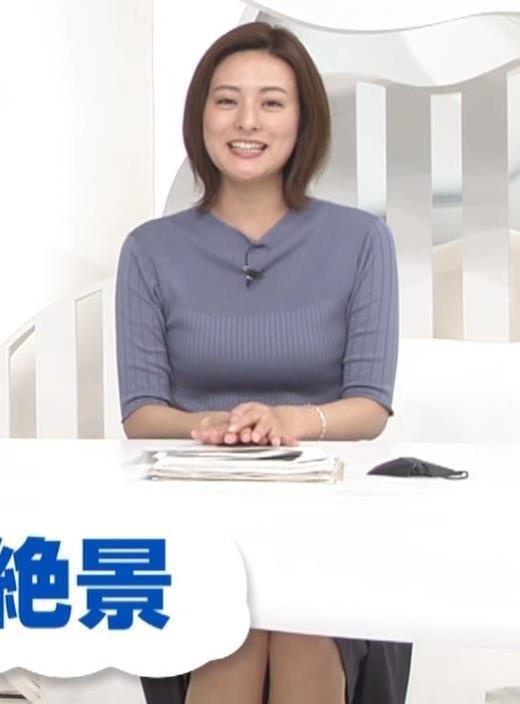 徳島えりかアナ 朝からエロいニットおっぱいキャプ画像(エロ・アイコラ画像)