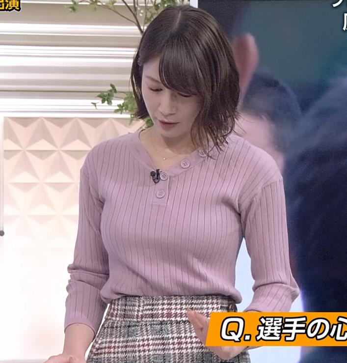 宇内梨沙アナ ニットおっぱいキャプ・エロ画像2