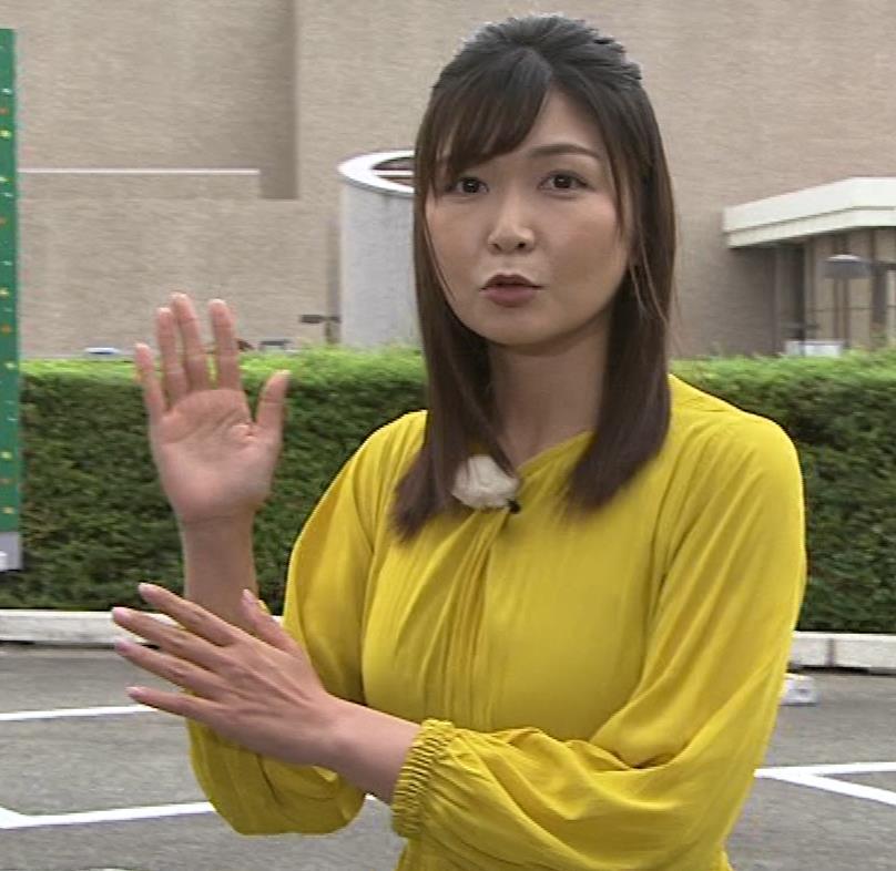 山神明理 おっぱいクッキリ(NHKおはよう日本のお天気)キャプ・エロ画像6