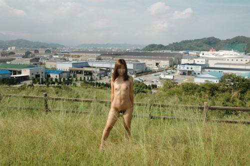 草原の中で野外露出してるヌード画像 4