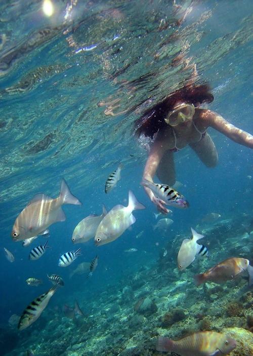 海の中でビキニを取って全裸で泳ぐ美女のヌード画像 2